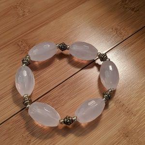 Faux Rose quartz stretchy bracelet